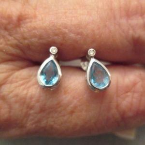 14kt.Gold & Genuine Blue Topaz & Diamond Earrings